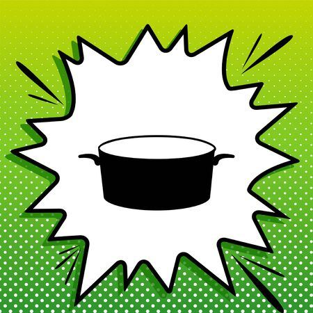 Pan sign. Black Icon on white popart Splash at green background with white spots.