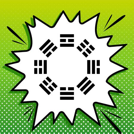 Bagua sign. Black Icon on white popart Splash at green background with white spots.