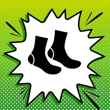 Socks sign. Black Icon on white popart Splash at green background with white spots. Illustration