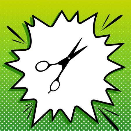 Hair cutting scissors sign. Black Icon on white popart Splash at green background with white spots.