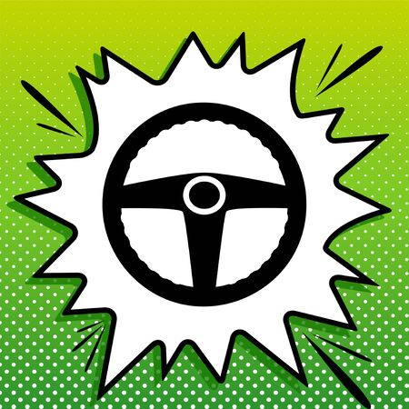 Car driver sign. Black Icon on white popart Splash at green background with white spots.