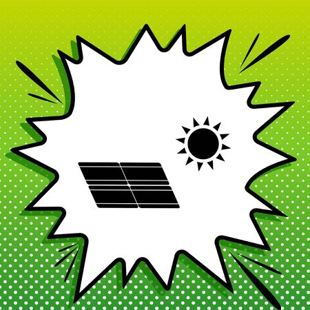 Solar energy panel. Eco trend concept sign. Black Icon on white popart Splash at green background with white spots. Stock Illustratie