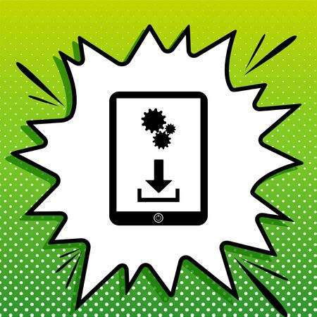 Phone icon with settings symbol. Black Icon on white popart Splash at green background with white spots.