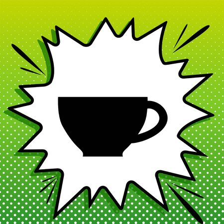 Cup sign. Black Icon on white popart Splash at green background with white spots.