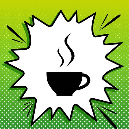 Cup sign with two small streams of smoke. Black Icon on white popart Splash at green background with white spots.