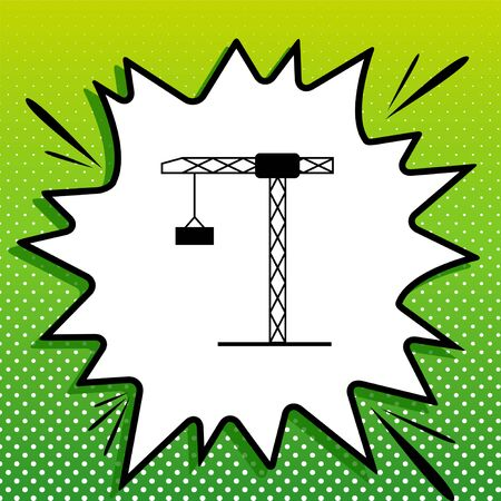 Construction crane sign. Black Icon on white popart Splash at green background with white spots.