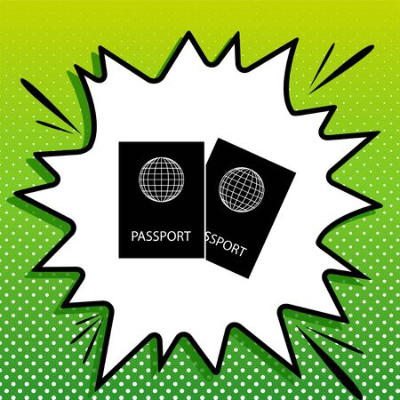 Two passports sign illustration. Black Icon on white popart Splash at green background with white spots. Vectores