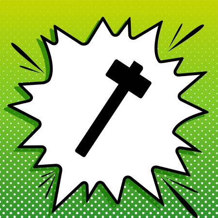 Hammer sign illustration. Black Icon on white popart Splash at green background with white spots.