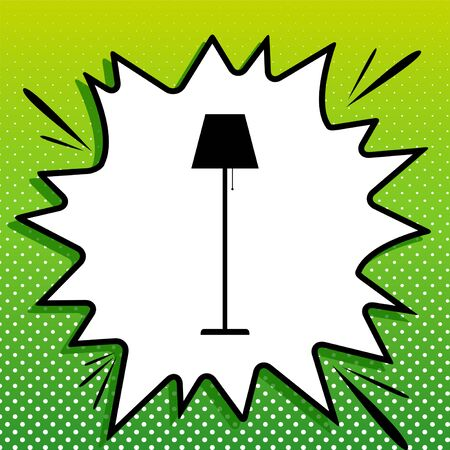 Floor lamp sign illustration. Black Icon on white popart Splash at green background with white spots. Banque d'images - 143319587