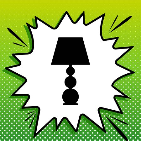 Lamp sign illustration. Black Icon on white popart Splash at green background with white spots. Banque d'images - 143319588