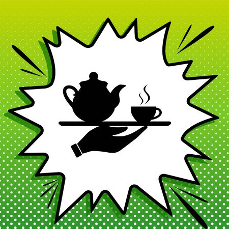 Hand with cup of coffee or tea sign illustration. Black Icon on white popart Splash at green background with white spots. Vecteurs