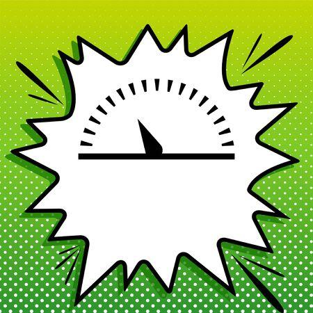 Speedometer sign illustration. Black Icon on white popart Splash at green background with white spots.