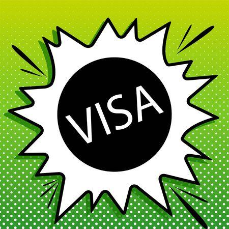 Visa card sign illustration. Black Icon on white popart Splash at green background with white spots.