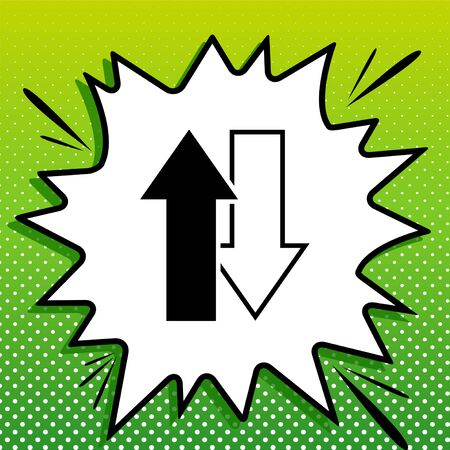 Arrows top down sign. Black Icon on white popart Splash at green background with white spots.