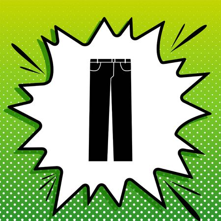 Mens jeans or pants sign. Black Icon on white popart Splash at green background with white spots.
