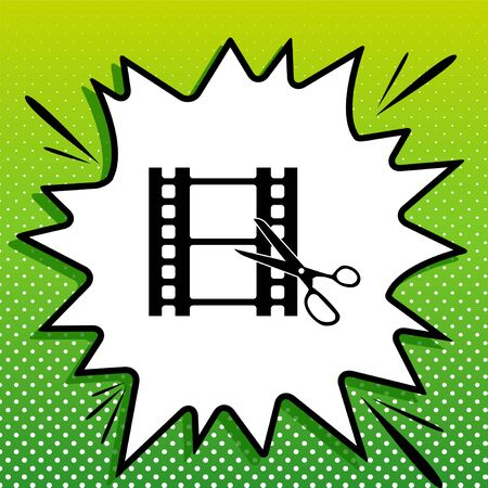 Scissors cutting film shot. Editing sign. Black Icon on white popart Splash at green background with white spots.