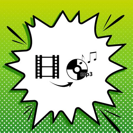 Video to audio converter sign. Black Icon on white popart Splash at green background with white spots. Illustration