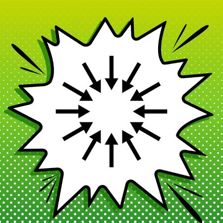 Arrows sign. Black Icon on white popart Splash at green background with white spots.
