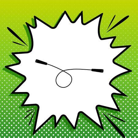 Jumping-rope sign. Black Icon on white popart Splash at green background with white spots. Illustration
