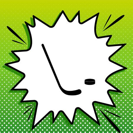 Stick and field sign. Black Icon on white popart Splash at green background with white spots.