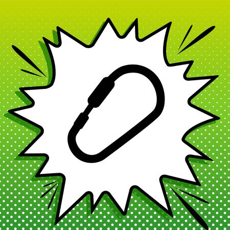 Carabiner sign. Black Icon on white popart Splash at green background with white spots.