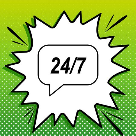 Support 24 hours sign. Black Icon on white popart Splash at green background with white spots. Vetores