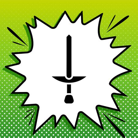 Simple Sword sign. Black Icon on white popart Splash at green background with white spots. Illustration