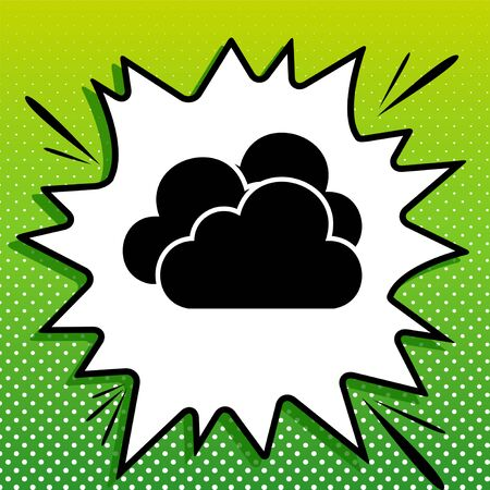 Cloud, Cloudy sign. Black Icon on white popart Splash at green background with white spots.