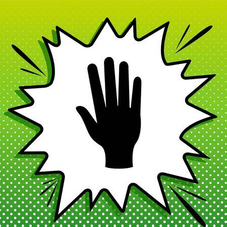 Clean hands sign. Black Icon on white popart Splash at green background with white spots. Standard-Bild - 143318777