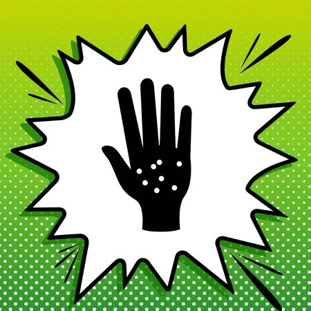 Dirty hands sign. Black Icon on white popart Splash at green background with white spots.