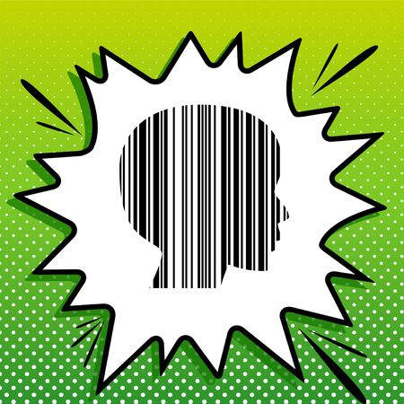 Face Barcode sign. Black Icon on white popart Splash at green background with white spots.