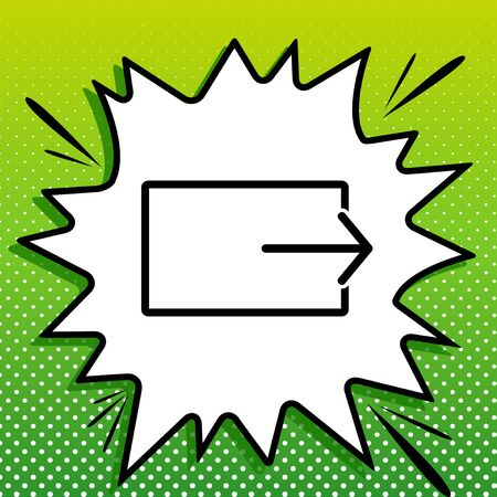 Output sign. Black Icon on white popart Splash at green background with white spots.