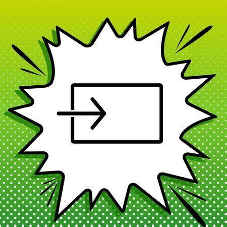 Input sign. Black Icon on white popart Splash at green background with white spots.