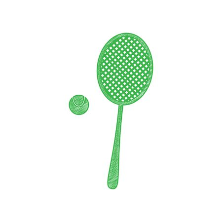 Tennis racquet with ball sign. Green scribble Icon with solid contour on white background.