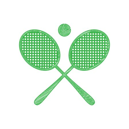 Two tennis racket with ball sign. Green scribble Icon with solid contour on white background.