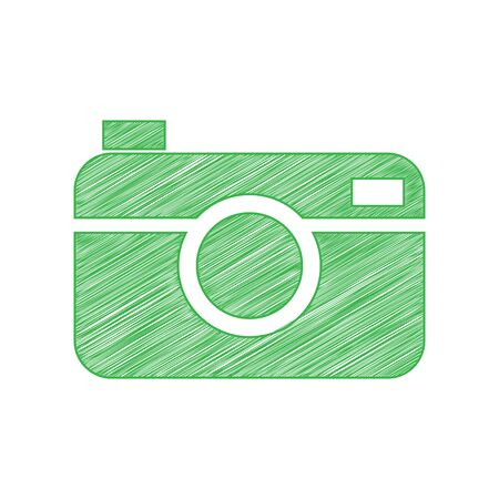 Digital photo camera sign. Green scribble Icon with solid contour on white background. 일러스트