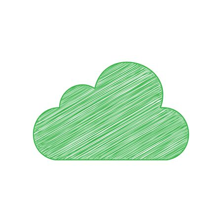 Cloud sign illustration. Green scribble Icon with solid contour on white background. Vector Illustration