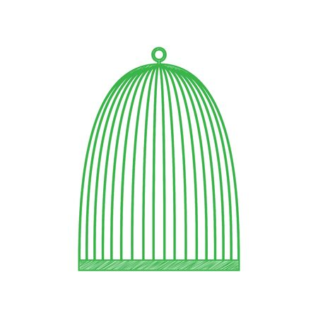 Bird cage sign. Green scribble Icon with solid contour on white background.