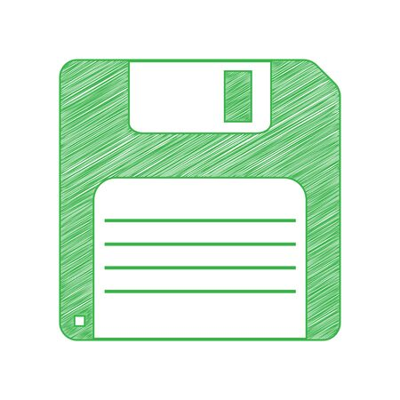Floppy disk sign. Green scribble Icon with solid contour on white background.