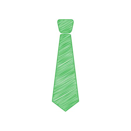 Tie sign illustration. Green scribble Icon with solid contour on white background.