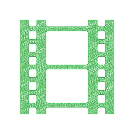 Reel of film sign. Green scribble Icon with solid contour on white background.