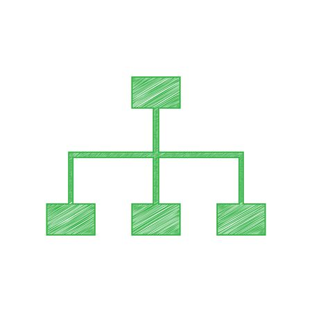 Site map sign. Green scribble Icon with solid contour on white background.