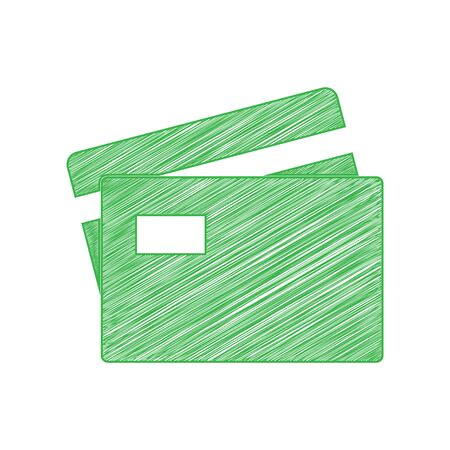 Credit Card sign. Green scribble Icon with solid contour on white background. Vectores