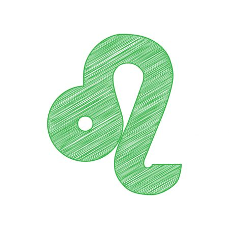 Leo sign illustration. Green scribble Icon with solid contour on white background.