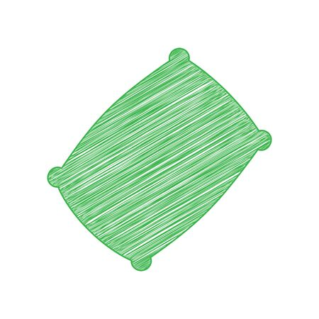 Pillow sign illustration. Green scribble Icon with solid contour on white background. Ilustração