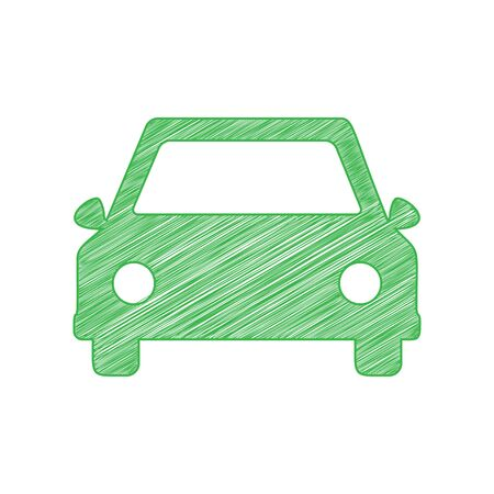 Car sign illustration. Green scribble Icon with solid contour on white background.