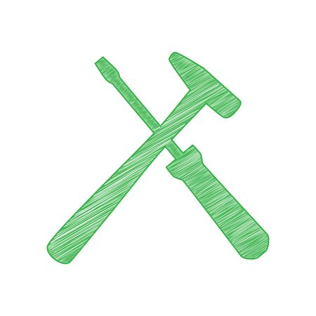Tools sign illustration. Green scribble Icon with solid contour on white background. Çizim
