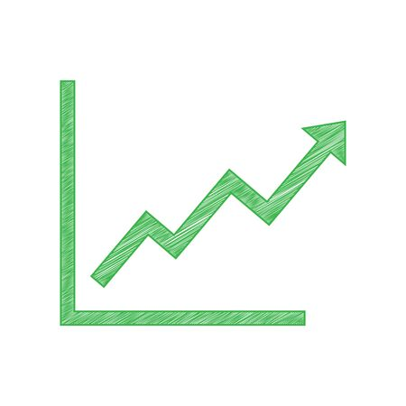 Growing bars graphic sign. Green scribble Icon with solid contour on white background. Vector Illustration