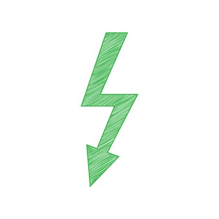 High voltage danger sign. Green scribble Icon with solid contour on white background.