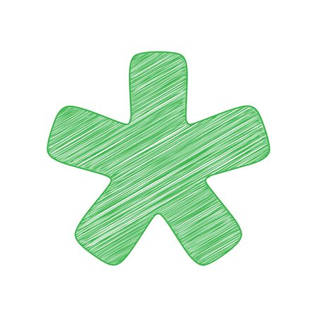 Asterisk star sign. Green scribble Icon with solid contour on white background.